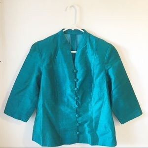aqua blue teal handcrafted button down vibrant